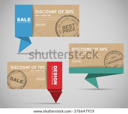Design colored banners in origami style for big sales. Retro style with texture of old cardboard and stamps. Vector illustration.Set - stock vector