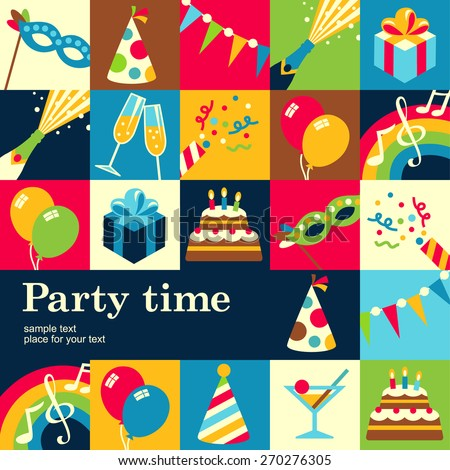Design concept of background for fun party. Template of card