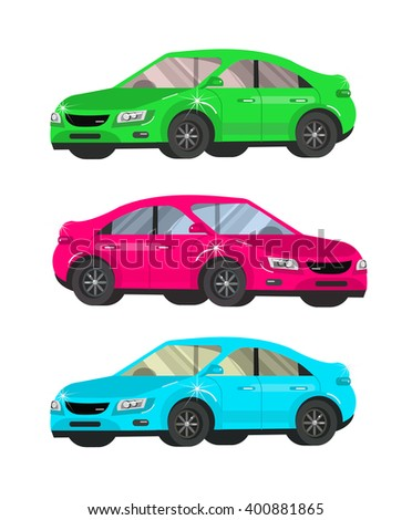 design concept of choice and buying a car. Vector cool flat  illustration isolated on white background.