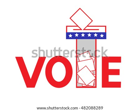 Design concept of voting ballot and transparent voting box in red and blue.Vector