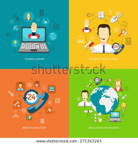 Design concept set for round-the-clock computer remote support nonstop consultation and search optimal solution isolated vector illustration  - stock vector