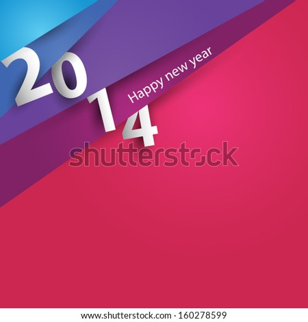 Design corner paper for new year 2014 - stock vector