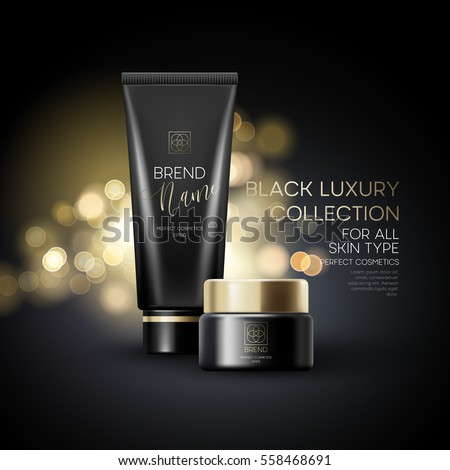 Design cosmetics product advertising on black background. Vector illustration EPS10
