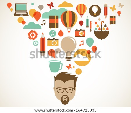 Design, creative, idea and innovation concept - stock vector