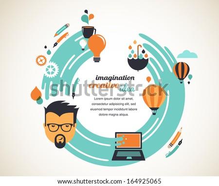 Design, creative, idea and innovation concept - stock vector