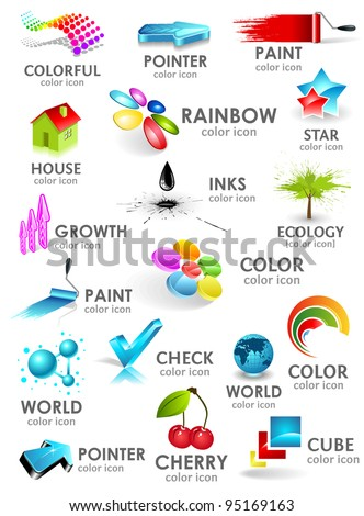 Design 3d color icon set. Design elements.