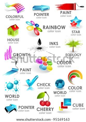 Design 3d color icon set. Design elements. - stock vector