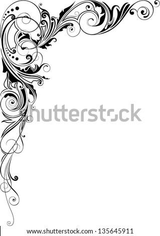 Design decorative angle floral - stock vector