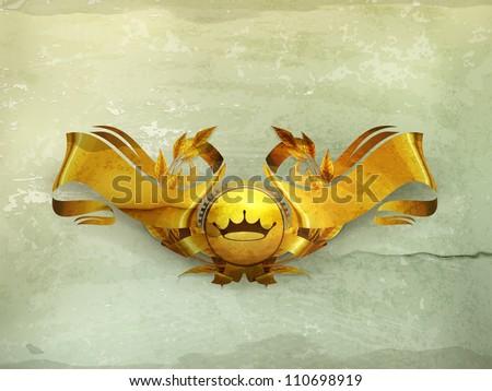 Design Element, Gold Emblem old-style vector - stock vector