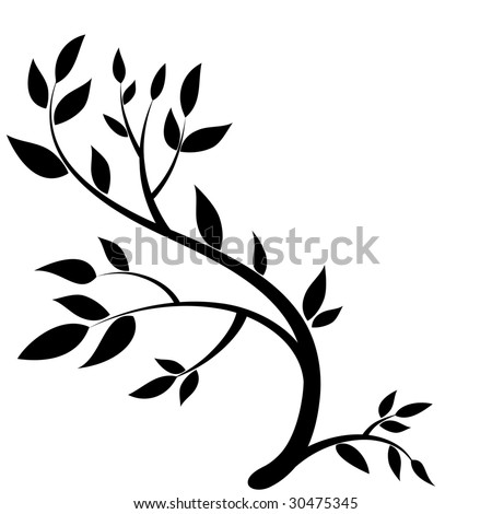 Design element - graphic drawing of a brunch with leaves - stock vector