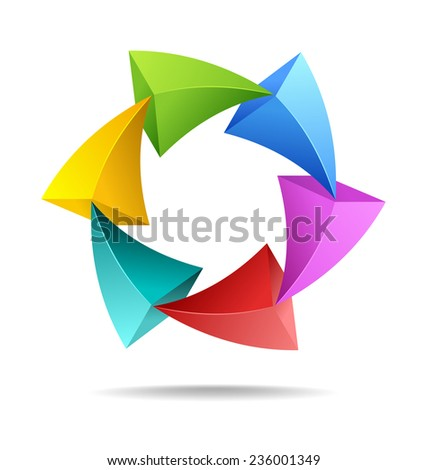 Design element of colorful arrows in a loop
