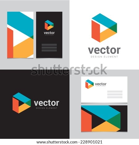 Design element with two business cards - 08 - stock vector