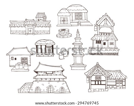 Design elements and collection in vintage style with Korean traditional architecture called Han-ok. A variety of houses, palace, city wall, ramparts and tower  - stock vector