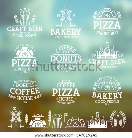 Design elements and labels for bakery, cafe, pizzeria and craft beer. White print on blurred background - stock vector