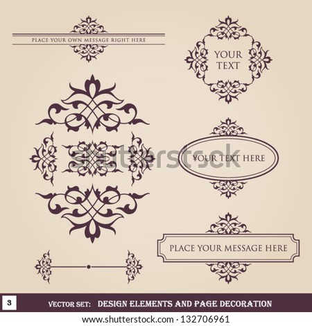 Design elements and page decoration set 3 - stock vector