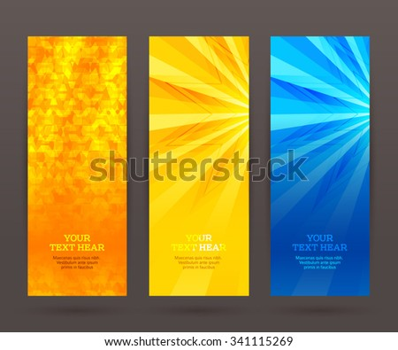 Design elements business presentation template. Vector illustration set vertical web banners background, backdrop glow light effect . EPS 10 for web buttons template, web site page presentation - stock vector