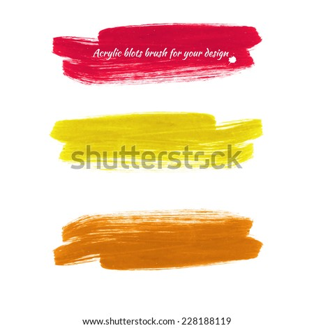 Design elements - colored acrylic paint brush marks. Vector illustration - red, yellow, orange. - stock vector