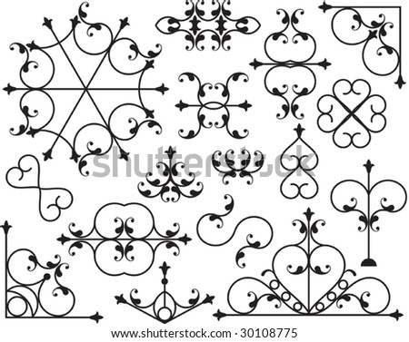 Design Elements, corner, border, center piece - stock vector