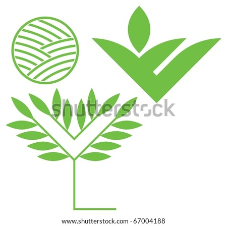 Design Elements. Environmental symbols. Landscaping and greenery - stock vector
