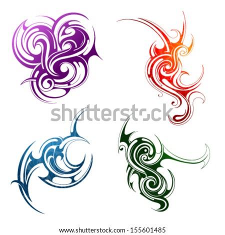 Design elements. Fire, water, grass, wind - stock vector