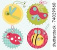 Design elements for baby scrapbook - stock photo