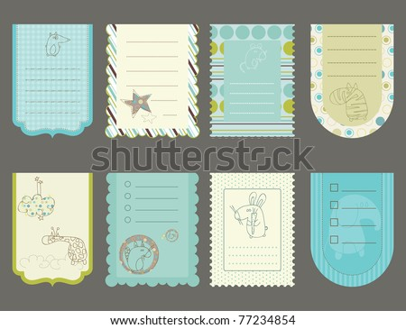 Design elements for baby scrapbook - cute tags with animals - stock vector