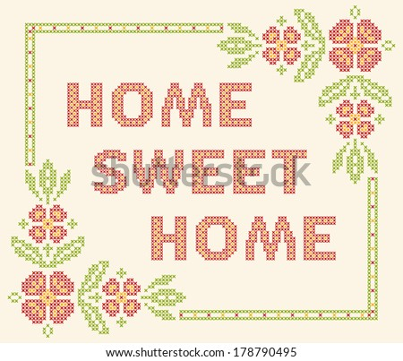 design elements for cross stitch embroidery home sweet home vector illustration floral