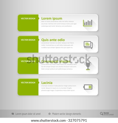 Design elements for infographics, layout, web pages. Modern symbols on the elegant tabs.