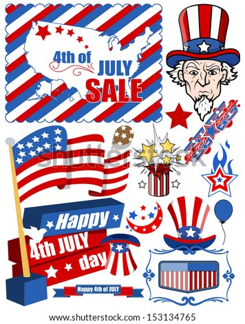 Design elements for 4th of july - stock vector