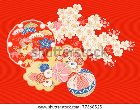 design elements from old Japanese kimono - stock vector