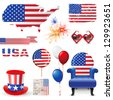 Design elements in American flag colors - stock photo
