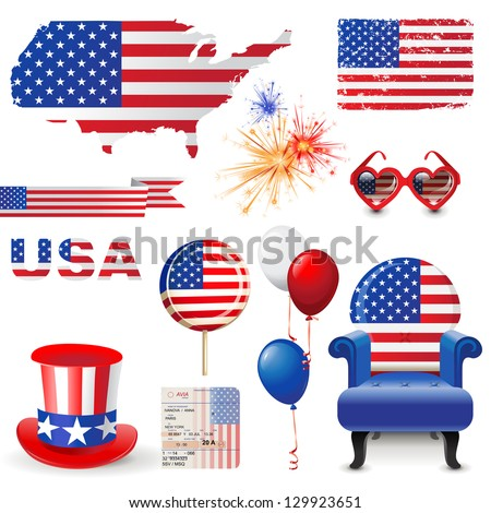 Design elements in American flag colors - stock vector