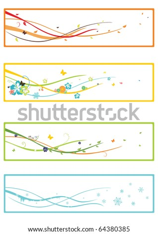 design elements of four seasons of the year - stock vector