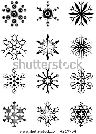 Design elements of snowflakes - stock vector