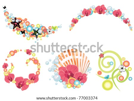 design elements on tropical and summer theme - stock vector