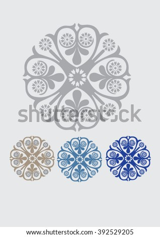 Design elements , ornaments, abstract decoration, lace doily, frame, border, hand drawn artwork,arabic and islamic designs gray and blue and golden colors - stock vector