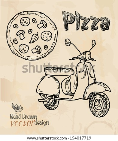 design elements, pizza, scooters. - stock vector