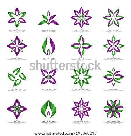 Design elements set. Abstract floral icons. Vector art. - stock vector