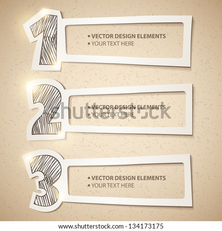 design elements set, hand drawn numbers and paper frames - stock vector