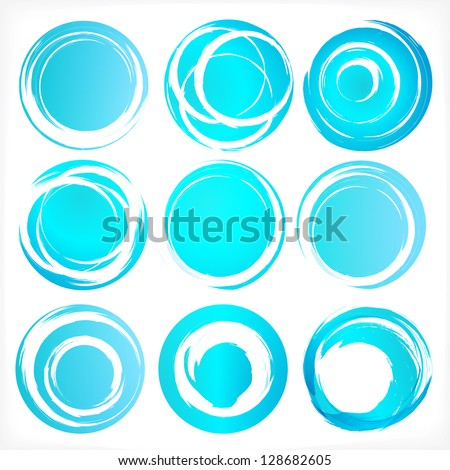 Design elements set in blue colors icons. Set 3. Vector illustration. - stock vector