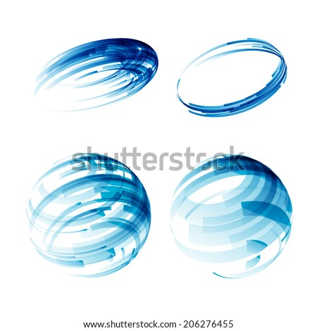 Design elements set in blue colors icons.  Vector. EPS 10. - stock vector