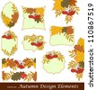 Design elements set. Labels and borders with autumn leafs - stock vector