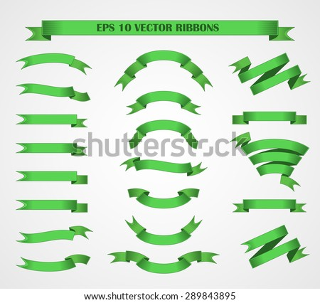 Design elements. Set of Green vector ribbons or banners. EPS 10 - stock vector