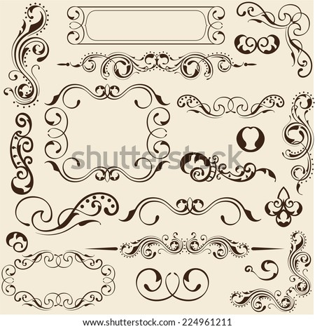 Design elements set on beige - stock vector