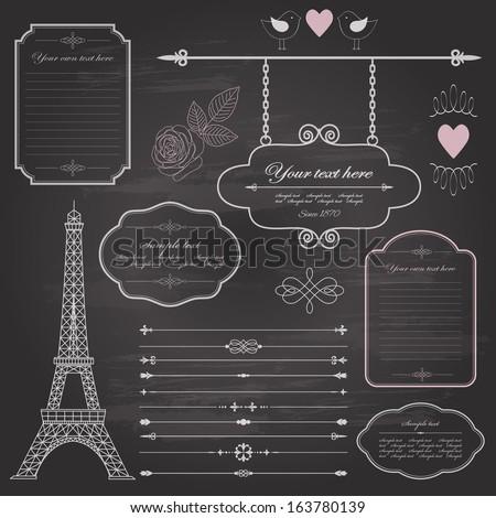 Design elements set on retro chalkboard background - frame, sign board, eiffel tower, border, rose, birds. - stock vector