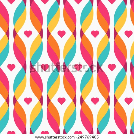 Design elements - tangled colorful waves and small pink hearts. Seamless background. Vector illustration. - stock vector