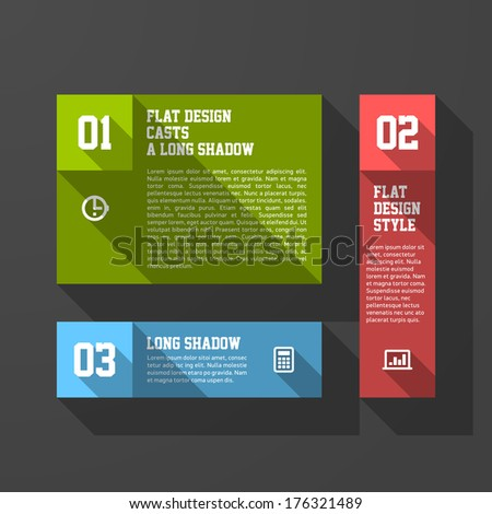 Design elements template, long shadow style. Vector.
