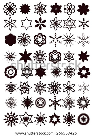 design elements. universal vector collection of abstract flowers or snowflakes - stock vector