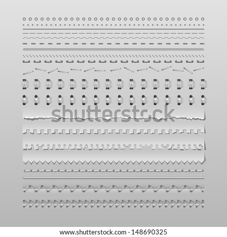 Design elements vector set of high detailed stitches and dividers - stock vector