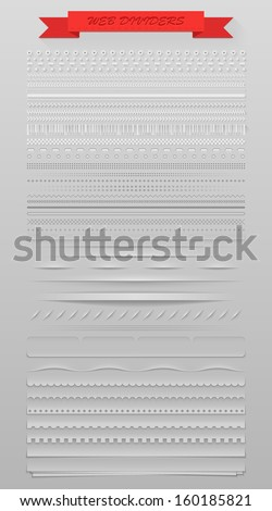 Design elements vector set of high detailed web dividers - stock vector